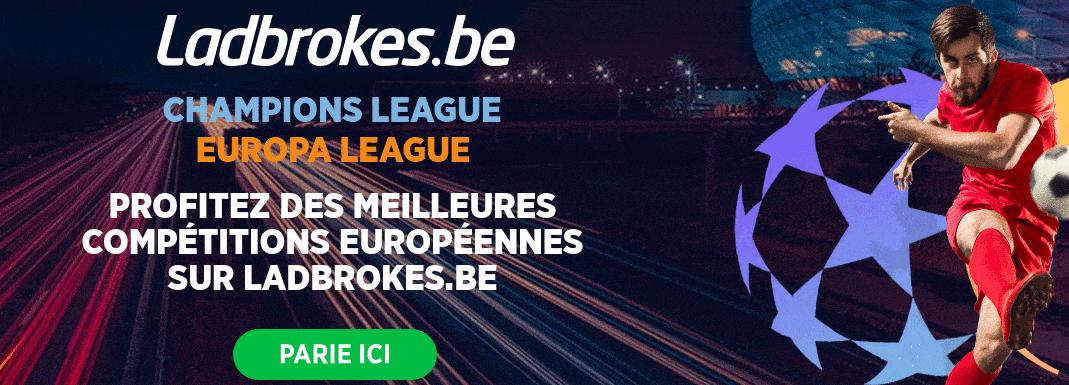 Meilleures cotes Belgique Ladbrokes Ligue des Champions