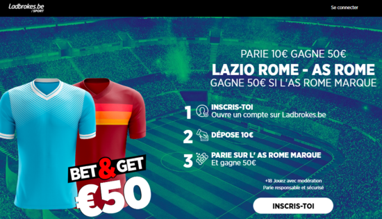 Bet and Get Lazio Roma Serie A Ladbrokes 50€