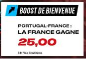 La France gagne contre le Portugal boosté à 25.00 !!