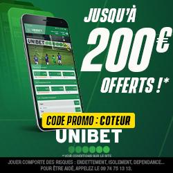 Profitez d'un bonus Unibet boosté à 200€ avec COTEUR !