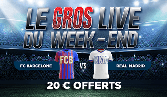Barcelone Real Madrid : 20€ offerts pour parier en live !