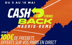 Masters Madrid Rome : Jusque 100€ de freebets à gagner !