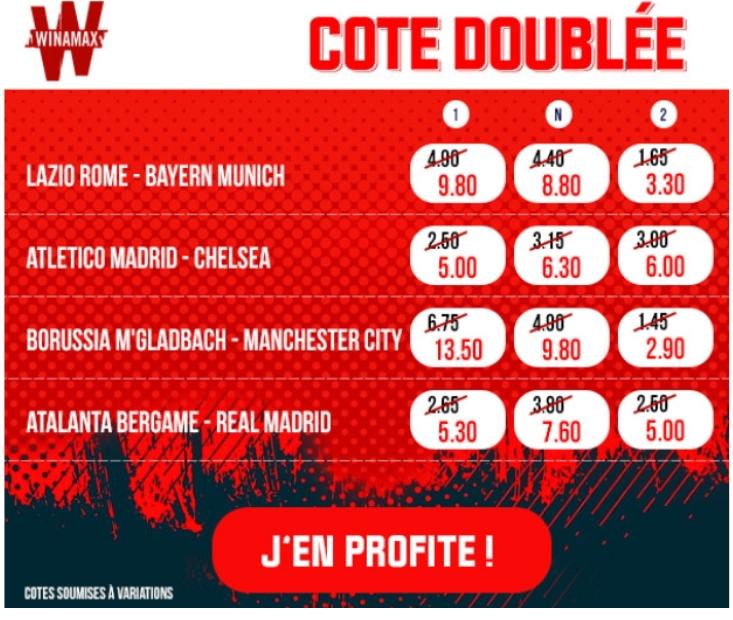 Cote doublée Ligue des Champions Winamax
