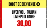 LIVERPOOL - FULHAM : LA VICTOIRE DES REDS BOOSTEE A 50.00 !!