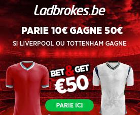 Liverpool - Tottenham : Pariez 10€ et Gagnez 50€ !