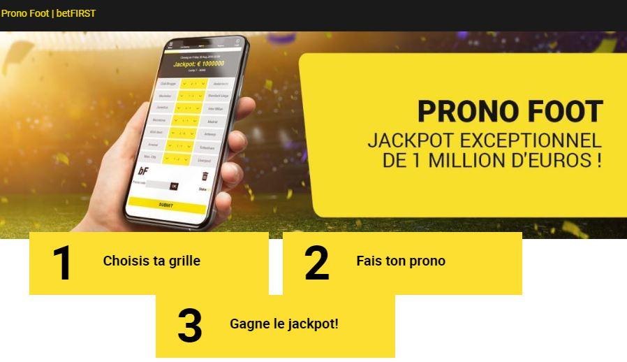 Jackpot de 1 000 000€ sur Betfirst ce week-end !