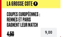 Grosse Cote PokerStars : Combiné Rennes et PSG boosté à 9.00 !