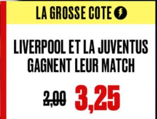 Grosse Cote PokerStars : Combiné Liverpool et Juventus boosté à 3.25 !