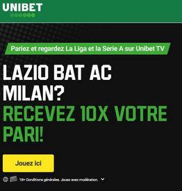 Victoire de la Lazio x10 sur UNIBET BE !
