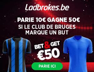 Bruges - Gent : Pariez 10€ et Gagnez 50€ si Bruges marque !