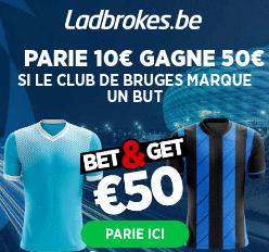 Lazio - Bruges : Pariez 10€ et Gagnez 50€ si Bruges marque !