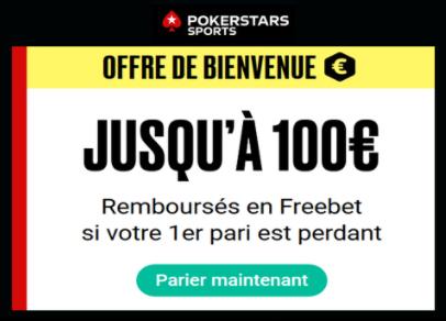 Bonus PokerStars Sports 100€ bonus et avis bookmaker